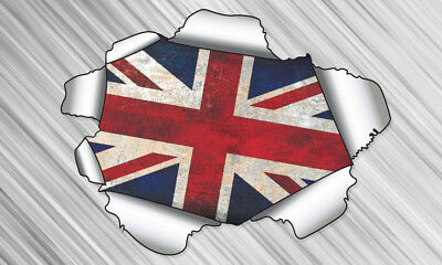COOL RIPPED/TORN METAL EFFECT UNION JACK FLAG - vinyl wall, car, decal sticker