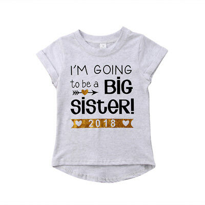 AU Kids Baby Girl Toddler Big Sister Summer Short Sleeve T-shirt Blouse Top 1-6Y