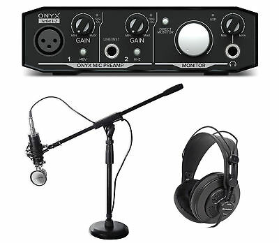 Mackie Podcast Podcasting Recording Bundle w/ Interface+Mic+Headphones+Stand