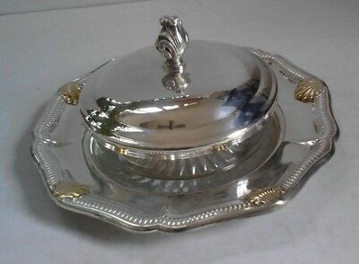 Gorham EP YC 1681 Silver Plate Round Plate with Glass butter bowl