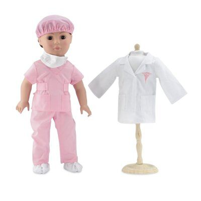 18 Inch Doll Clothes | Complete 6-piece Doctor or Nurse Hospital Pink Scrubs and