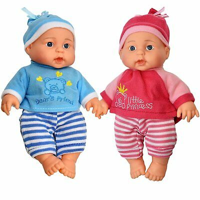 Little Princess Baby Twin Dolls, 9 Inch With Adorable Outfit Super Cute Boy and