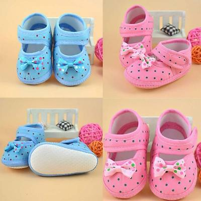 Hot Newborn Baby Girl Soft Sole Crib Shoes Bowknot Anti-slip Sneaker Prewalker