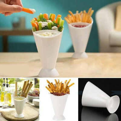 1* Snack Cone Stand Cup Remove Dip Holder Fries Chip Food separate Container