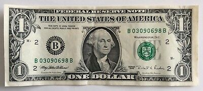 USA 1 Dollar Schein von 1995 B 03090698 B Federal Reserve Bank of New York