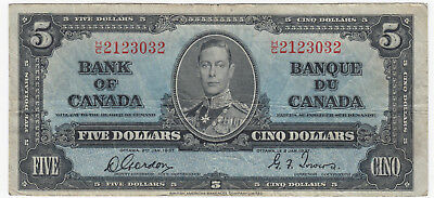 1937 Bank of Canada $5 Five Dollars - CH BC-23b - S/N: H/C2123032