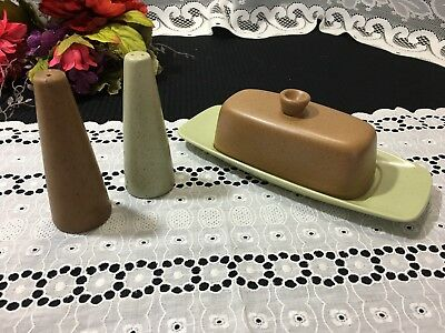 """Metlox Poppytrail """"California Tempo"""" Butter Dish and 2 Salt Shakers"""