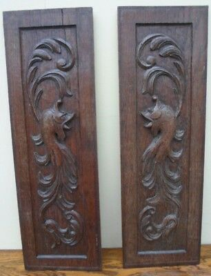 Pair of vintage French wooden carved decorative panels, salvage, fish design