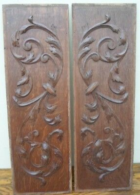 Pair of vintage French wooden carved decorative panels, salvage, leaf design