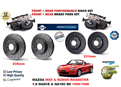 FOR MAZDA EUNOS MX5 ROADSTER 1.6 1990-1998 FRONT AXLE BRAKE DISCS and PADS SET