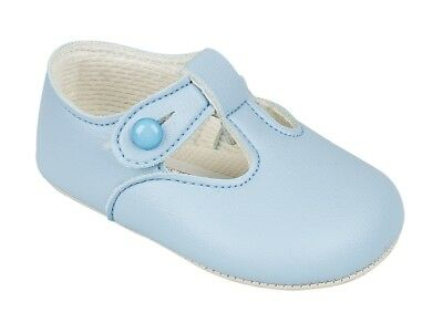 Baypods Traditional Spanish Style Romany Baby Boys Matte Sky Blue Pram Shoes