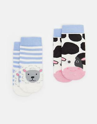 Joules 124732 Baby Boys Two pack Thermo Regulating Bamboo Socks in Farm