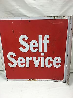 Vintage Metal Self Service Gas Metal Sign Two Sided Post Mount