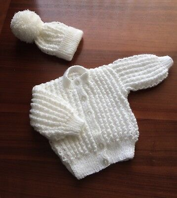 Hand Knitted Baby Cardigain  and hat set In Sparkly White 18-20 Inch Chest