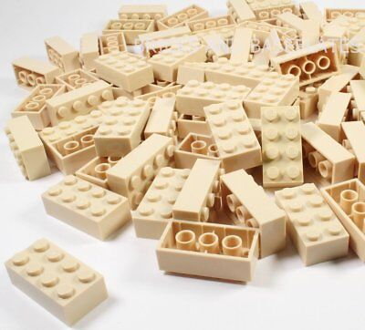 LEGO BRICKS 50 x TAN 2x4 Pin - From Brand New Sets Sent in a Clear Sealed Bag