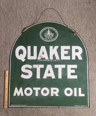 Quaker State Motor Oil Tombstone Sign Green 2 Sided PA BARRIE CHASE COLLECTION
