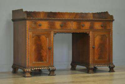 Attractive Large Antique Edwardian Mahogany Twin Pedestal Desk Dressing Table