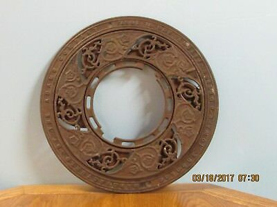 Antique Cast Iron Ornate Round Victorian Stove Pipe Register Grate Vent 2 Piece