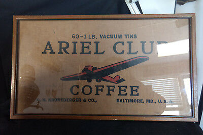 Ariel Club Coffee Sign 60-1lb Vacuum Tins C. H. Kroneberger & Co Baltimore, MD