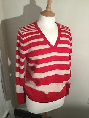 Ladies M&S Lambswool Striped V Neck Jumper. Size 14. Ex Cond.