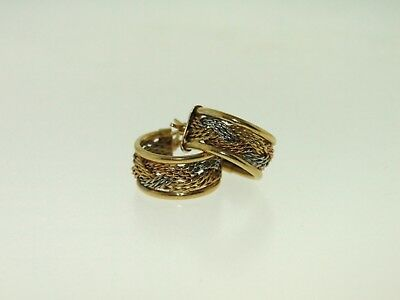 Gorgeous 14Kt Tri-Colored Gold Woven Hoop Earrings