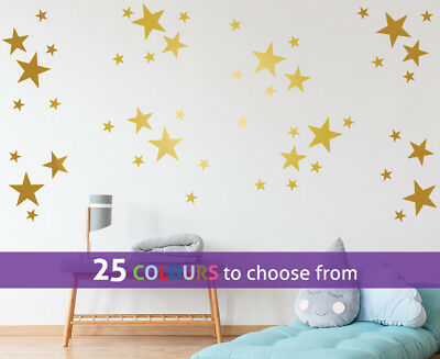 MIXED size 4, 3, 1.25 inch STARS pack of 48 wall art stickers decal baby nursery