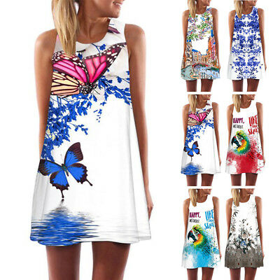Women's Casual Summer Vintage Sleeveless Floral Print Short Mini Dress Top Shirt