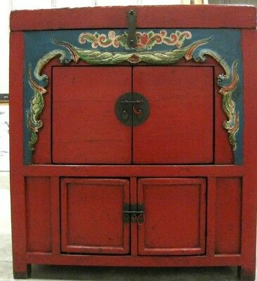 Red Chinese Antique Storage Cabinet Cupboard with Doors and Chest Lid