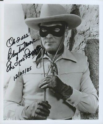 "Clayton ""The Lone Ranger"" Moore - Photograph Signed 12/25/1985"
