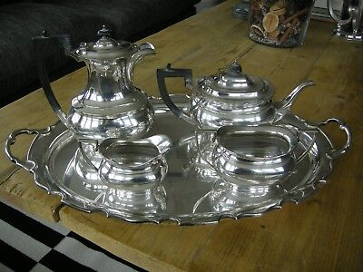 Quality COOPER BROS Antique Victorian Silver Plated Tea Set & Large Tray C1900