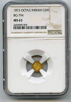 1873 25c Gold Octagonal California Fractional NGC MS 63 BG-794 R-5