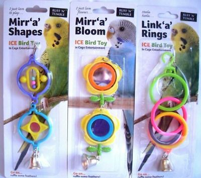 Sharples Ruff N Tumble Mirr a Shapes Bird Cage House Toy budgie parrot cockatiel