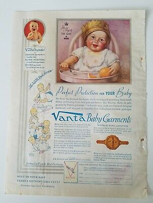 1934 VANTA baby garments diapers bibs his majesty crayon high chair ad