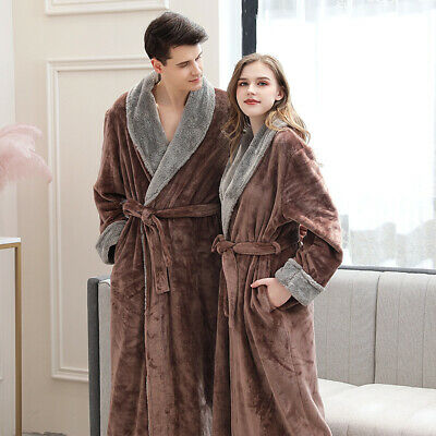 Women Men Robe Luxury Thermal Coral Fleece Dressing Gowns Super soft Bath Robes
