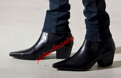 997e29e02fc MEN BLACK CUBAN Heel Ankle Boot Pointed Toe Leather Vogue Motor Formal  Shoes New