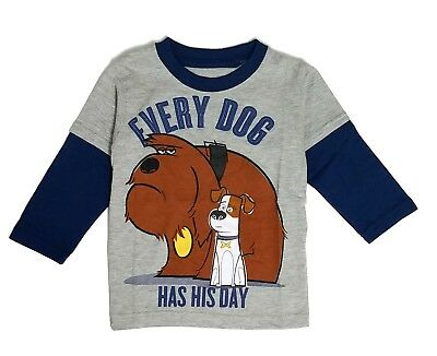 Toddler Boys Long Sleeve Tee Shirt Secret Life of Pets Character t 2T 3T 4T 5T