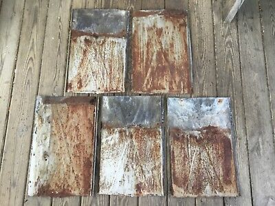 GALVANIZED ROOF ROOFING SHINGLES TIN REPURPOSE VINTAGE upcycle