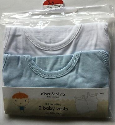 Baby Boy 2 pack Vests, 1 White and 1 Blue.