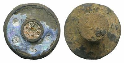 Lac Lovely Anglo Saxon  Bronze Enamel Button  Xii- Xvi Cent Ad !!! (R13)