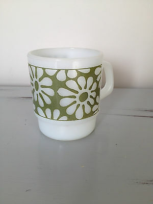Fire King Mug,  Vintage,  White with Green Floral Pattern, Mint
