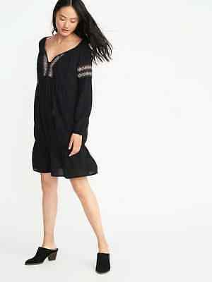 20d2265a6ce OLD NAVY WOMEN S Lost at Sea Navy Embroidered Tie Front Swing Dress ...