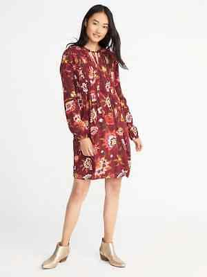 bb0a68106a Old Navy Women s Burgundy Combo Floral Print Pintucked Swing Dress Size S  Tall