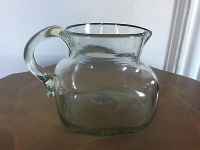 Antique heavy hand blown squat carafe jug pitcher green tinged glass