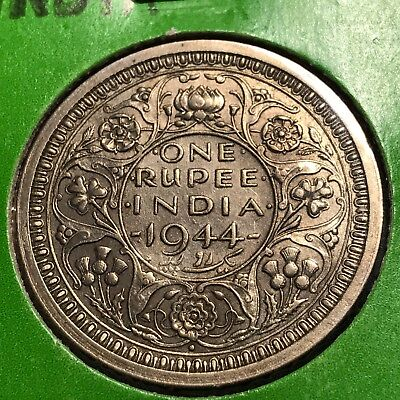 1944 British India Silver One Rupee Higher Grade Coin