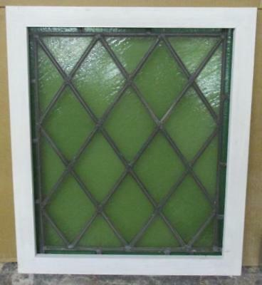 MID SIZED OLD ENGLISH LEADED STAINED GLASS WINDOW Diamond Lattice 21.75 x 25.25""