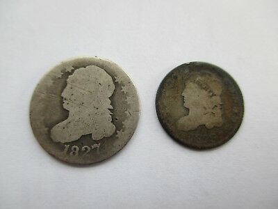 LOT OF 2 BUST COINS - 1829 BUST HALF DIME and 1827 BUST DIME