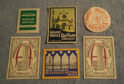 6 Vintage Hotel Luggage / Steamer Trunk Europe Label Lot Tag Decal Sticker
