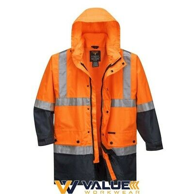Prime Mover Lightweight Hi-Vis Rain Jacket with Reflective Tape MJ306 Value Work