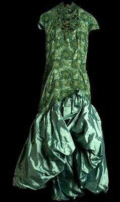 d6f0acd6a0f8 Ball Gown Prom Dress Green Lace/Raw Silk/Satin Designer Size 2 High-