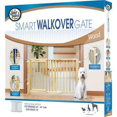 Four Paws Products Ltd Walk-Over Wood Gate With Door 30-44Wx18H In
